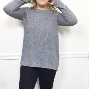 Athleta | Gray Marled Long Sleeved Workout Top